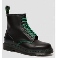 Ботинки Dr. Martens 1460 BLACK SMOOTH CONTRAST черные с зеленые шнурками